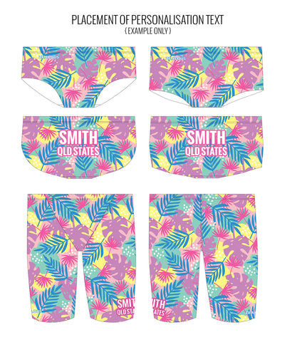 PASTEL PALMS - MALE Personalised Swimwear - Shop Zealous Training Swimwear