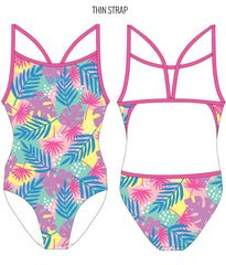 PASTEL PALMS - FEMALE Personalised Swimwear - Shop Zealous Training Swimwear