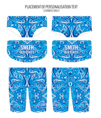 SWINGIN' SWIRLS {BLUE} - MALE Personalised Swimwear - Shop Zealous Training Swimwear