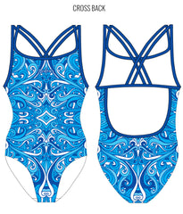 SWINGIN' SWIRLS {BLUE} - FEMALE Personalised Swimwear - Shop Zealous Training Swimwear