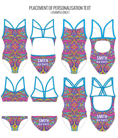 SWINGIN' SWIRLS {MULTI} - FEMALE Personalised Swimwear - Shop Zealous Training Swimwear