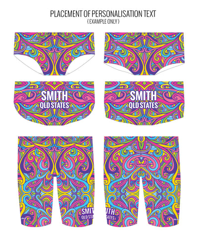 SWINGIN' SWIRLS {MULTI} - MALE Personalised Swimwear - Shop Zealous Training Swimwear