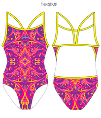 SWINGIN' SWIRLS {PINK/YELLOW} - FEMALE Personalised Swimwear - Shop Zealous Training Swimwear