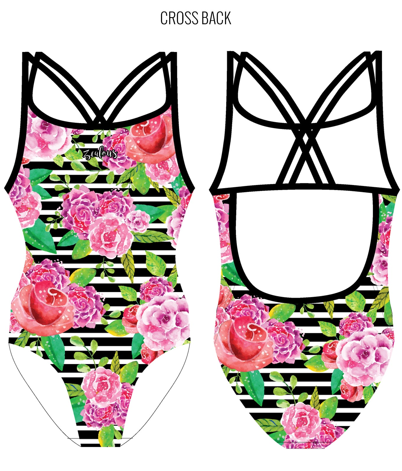 COASTAL ROSE - FEMALE Personalised Swimwear - Shop Zealous Training Swimwear