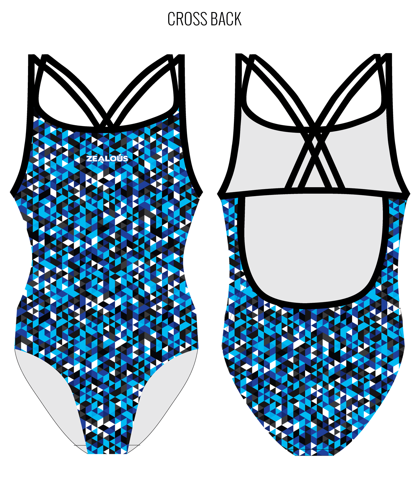 TEAM ZEALOUS {B/W/B} - FEMALE Personalised Swimwear - Shop Zealous Training Swimwear