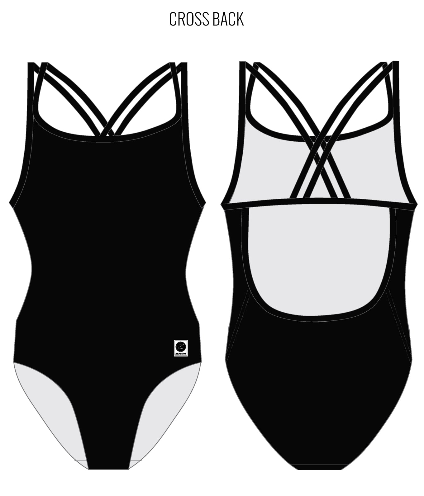 PITCH BLACK - FEMALE Personalised Swimwear - Shop Zealous Training Swimwear