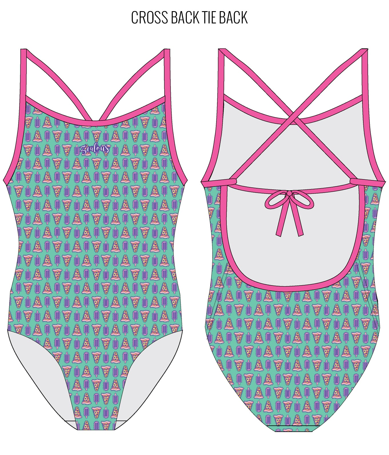 PIZZA PARTY - FEMALE Personalised Swimwear - Shop Zealous Training Swimwear