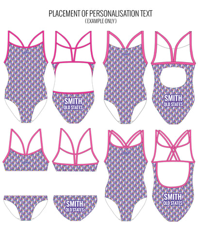 UNICORN SQUAD - FEMALE Personalised Swimwear - Shop Zealous Training Swimwear