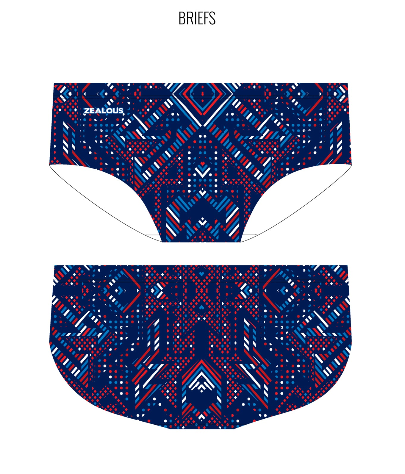AZTEC {BLUE/RED) - MALE Personalised Swimwear - Shop Zealous Training Swimwear