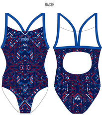 AZTEC {BLUE/RED) - FEMALE Personalised Swimwear - Shop Zealous Training Swimwear