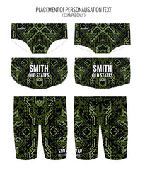 AZTEC {GREEN) - MALE Personalised Swimwear - Shop Zealous Training Swimwear