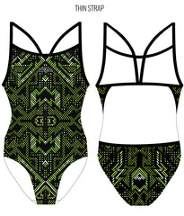 AZTEC {GREEN) - FEMALE Personalised Swimwear - Shop Zealous Training Swimwear