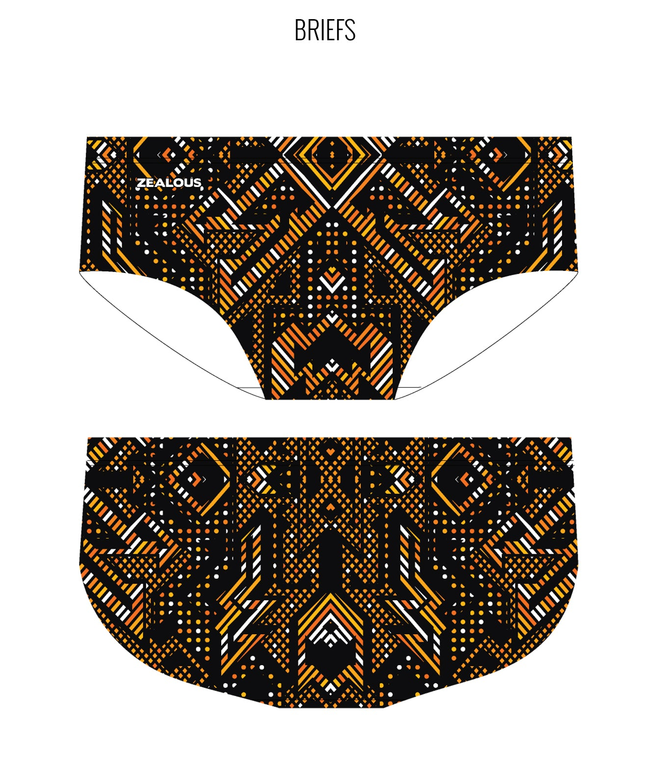 AZTEC {ORANGE) - MALE Personalised Swimwear - Shop Zealous Training Swimwear