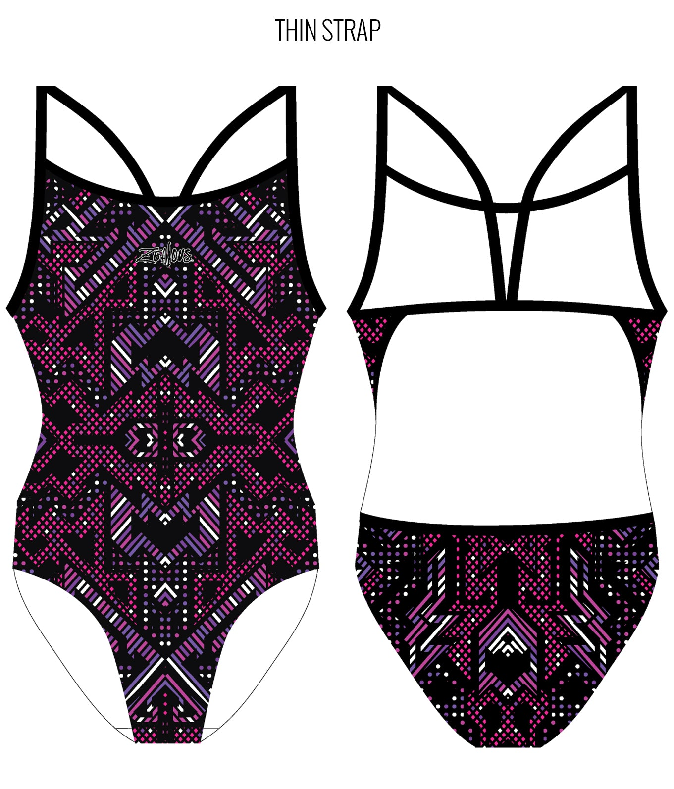 AZTEC {PINK/PURPLE) - FEMALE Personalised Swimwear - Shop Zealous Training Swimwear