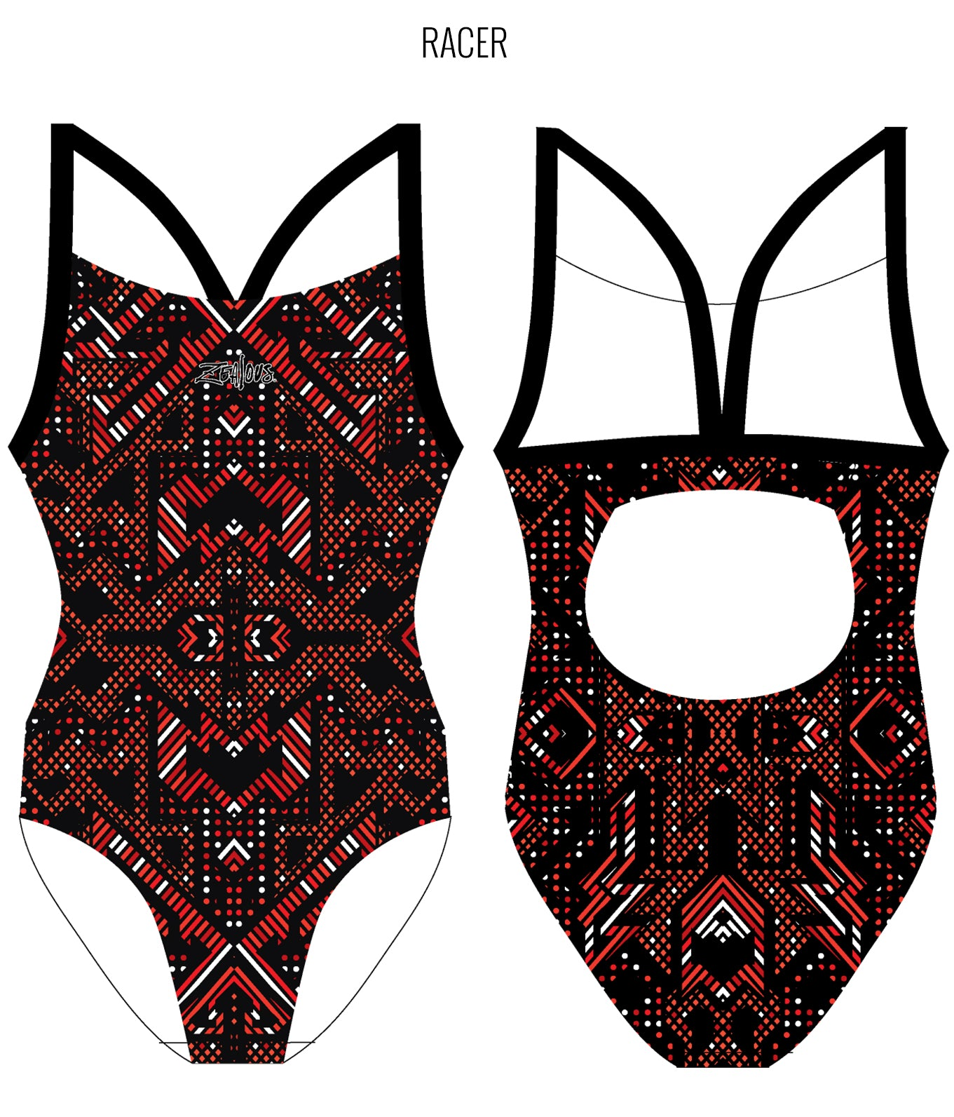 AZTEC {RED) - FEMALE Personalised Swimwear - Shop Zealous Training Swimwear