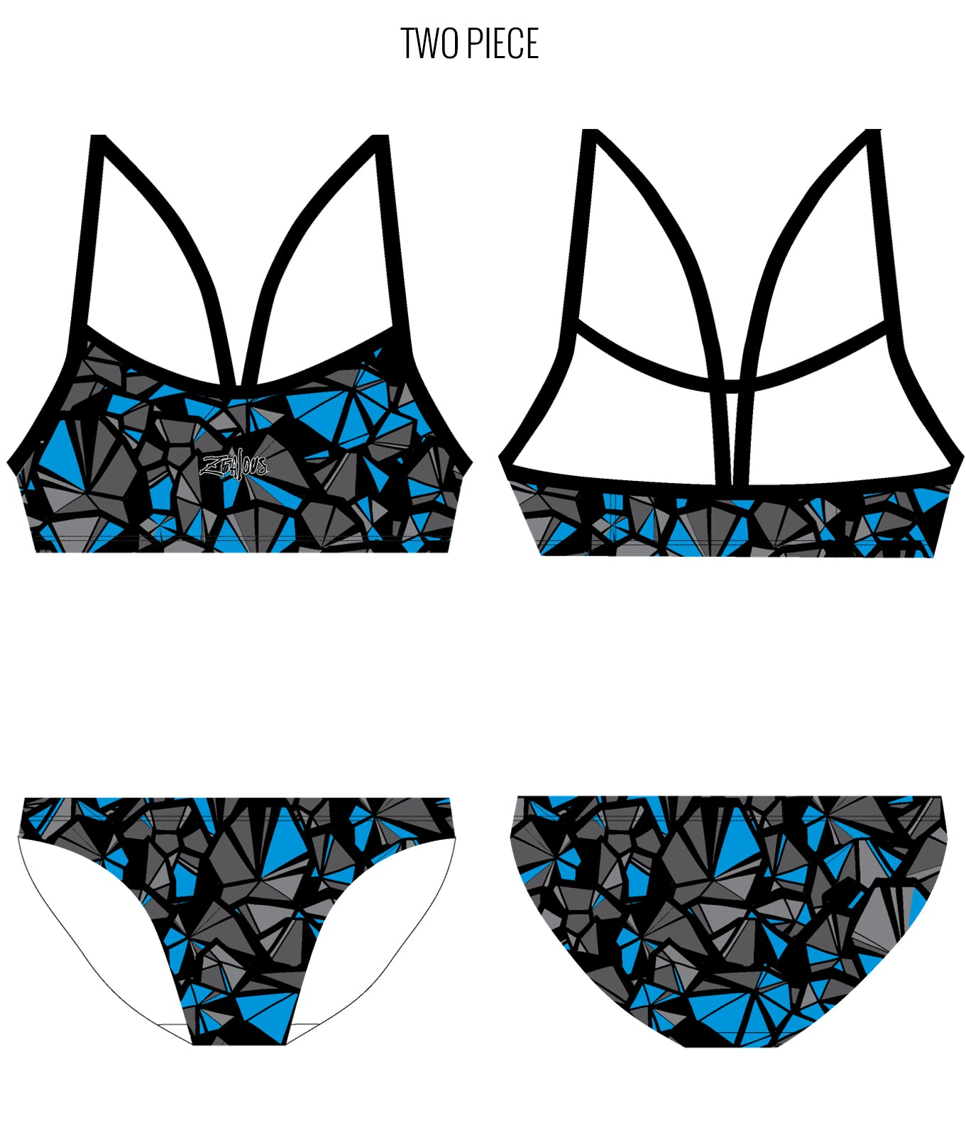 SHATTERED {BLUE} - FEMALE Personalised Swimwear - Shop Zealous Training Swimwear