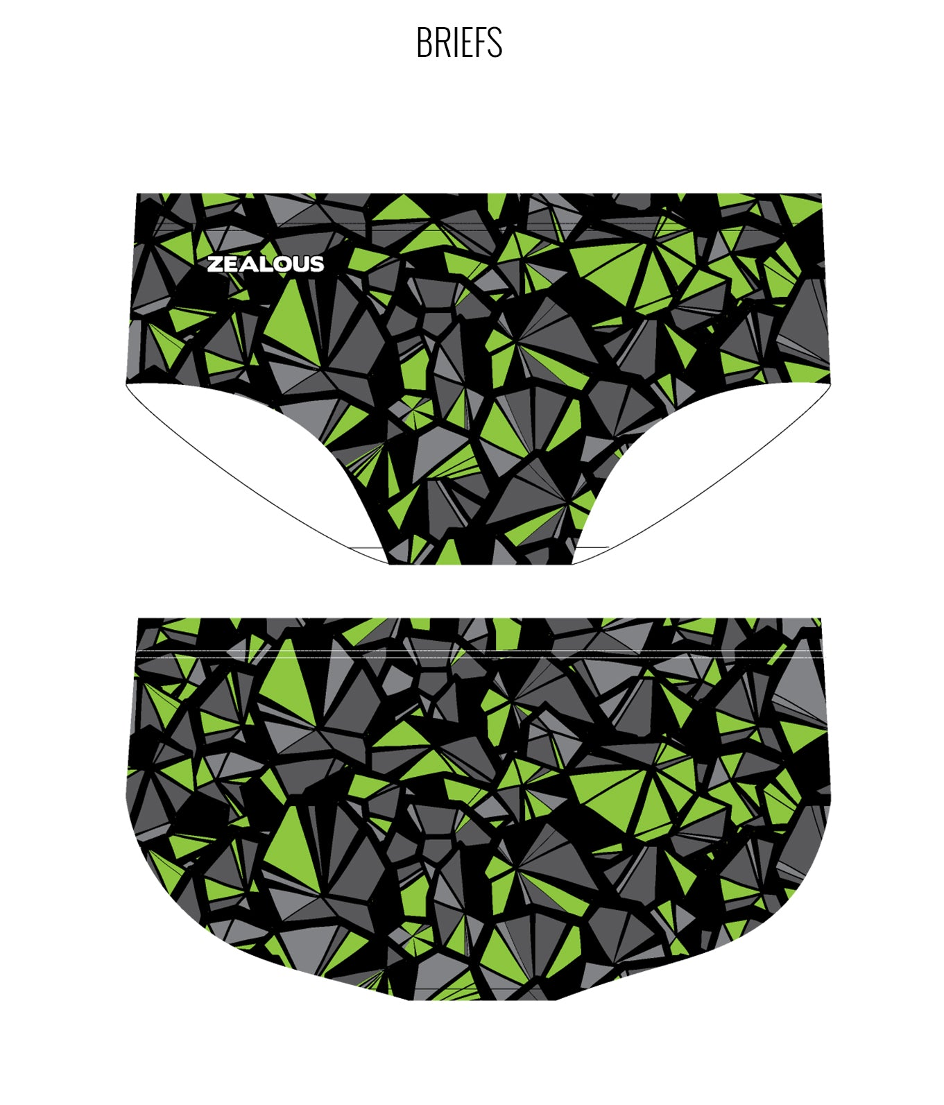 SHATTERED {GREEN} - MALE Personalised Swimwear - Shop Zealous Training Swimwear