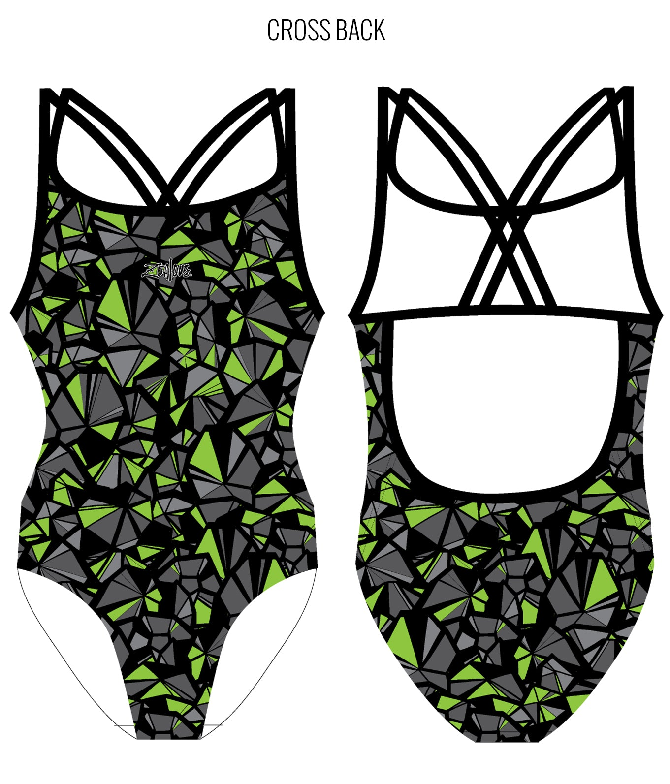 SHATTERED {GREEN} - FEMALE Personalised Swimwear - Shop Zealous Training Swimwear