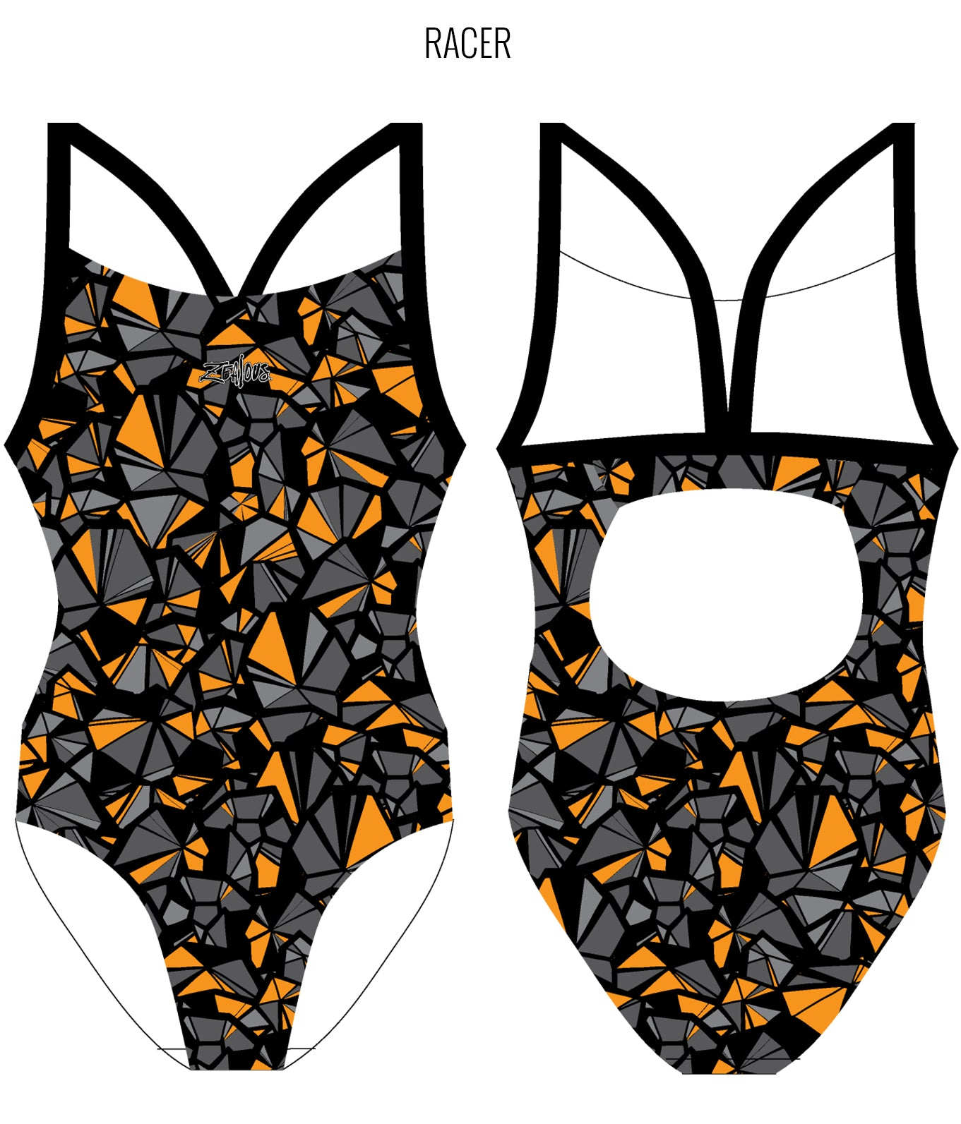 SHATTERED {ORANGE} - FEMALE Personalised Swimwear - Shop Zealous Training Swimwear