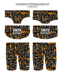 SHATTERS {ORANGE} - MALE Personalised Swimwear - Shop Zealous Training Swimwear