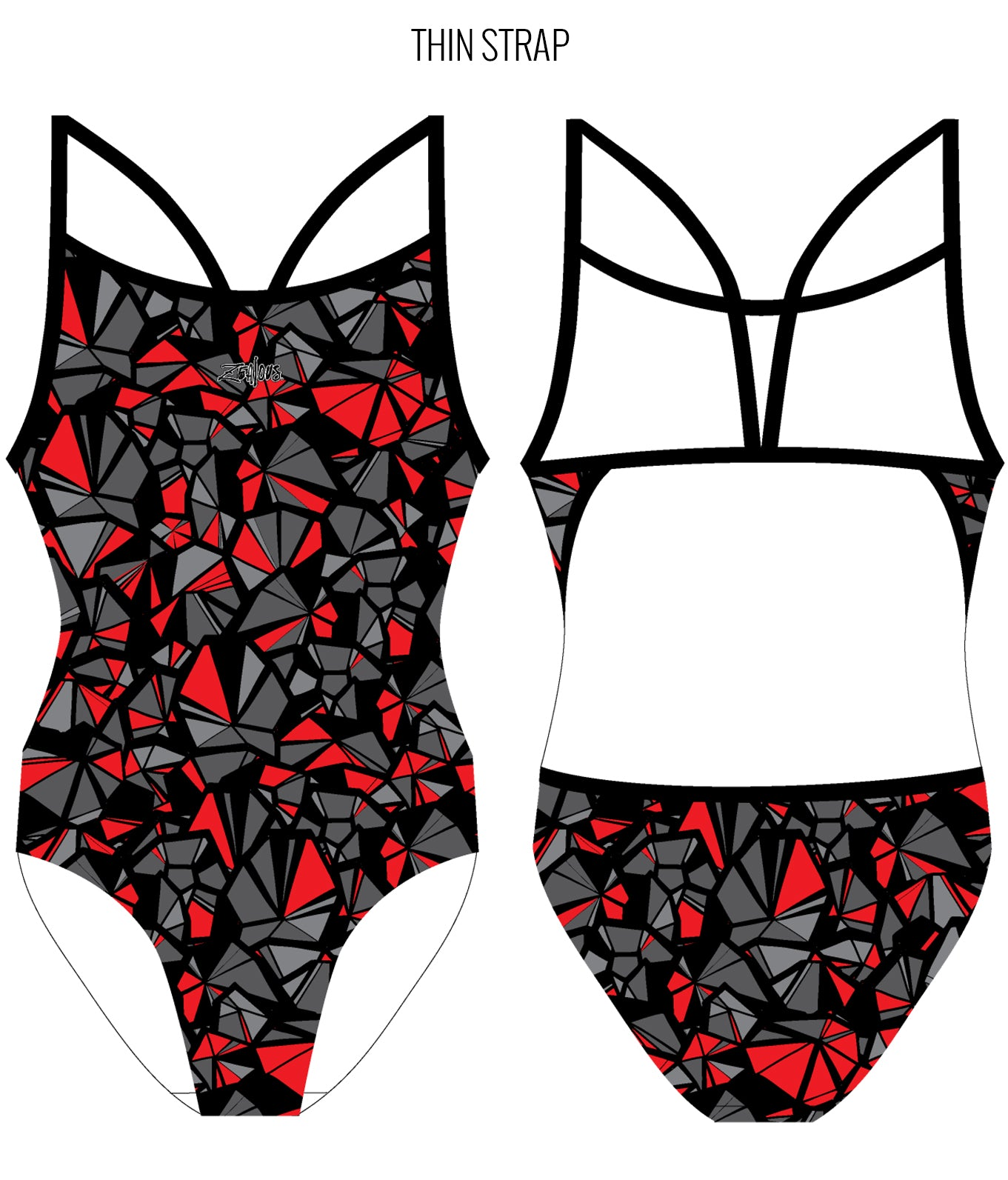 SHATTERED {RED} - FEMALE Personalised Swimwear - Shop Zealous Training Swimwear