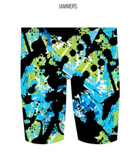SPLAT ATTACK {BLUE/GREEN} - MALE Personalised Swimwear - Shop Zealous Training Swimwear