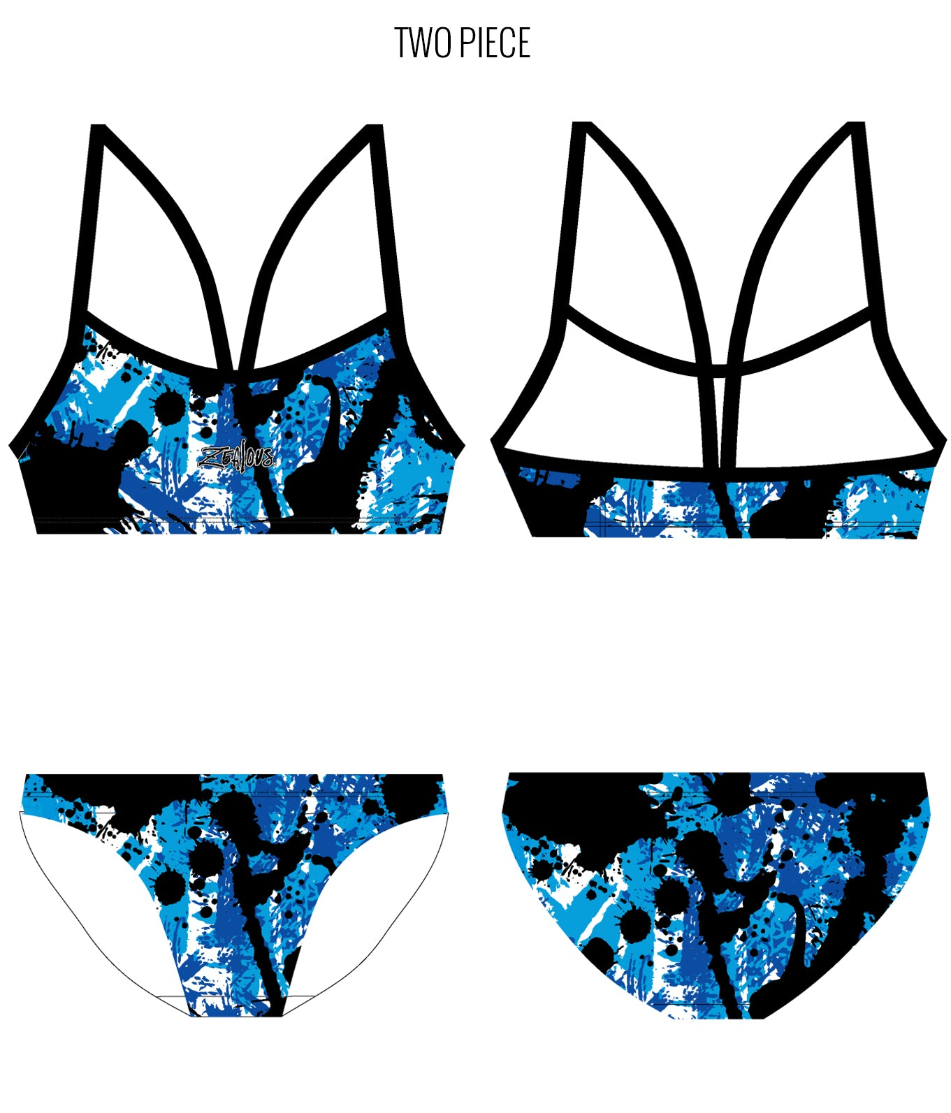 SPLAT ATTACK {BLUE} - FEMALE Personalised Swimwear - Shop Zealous Training Swimwear