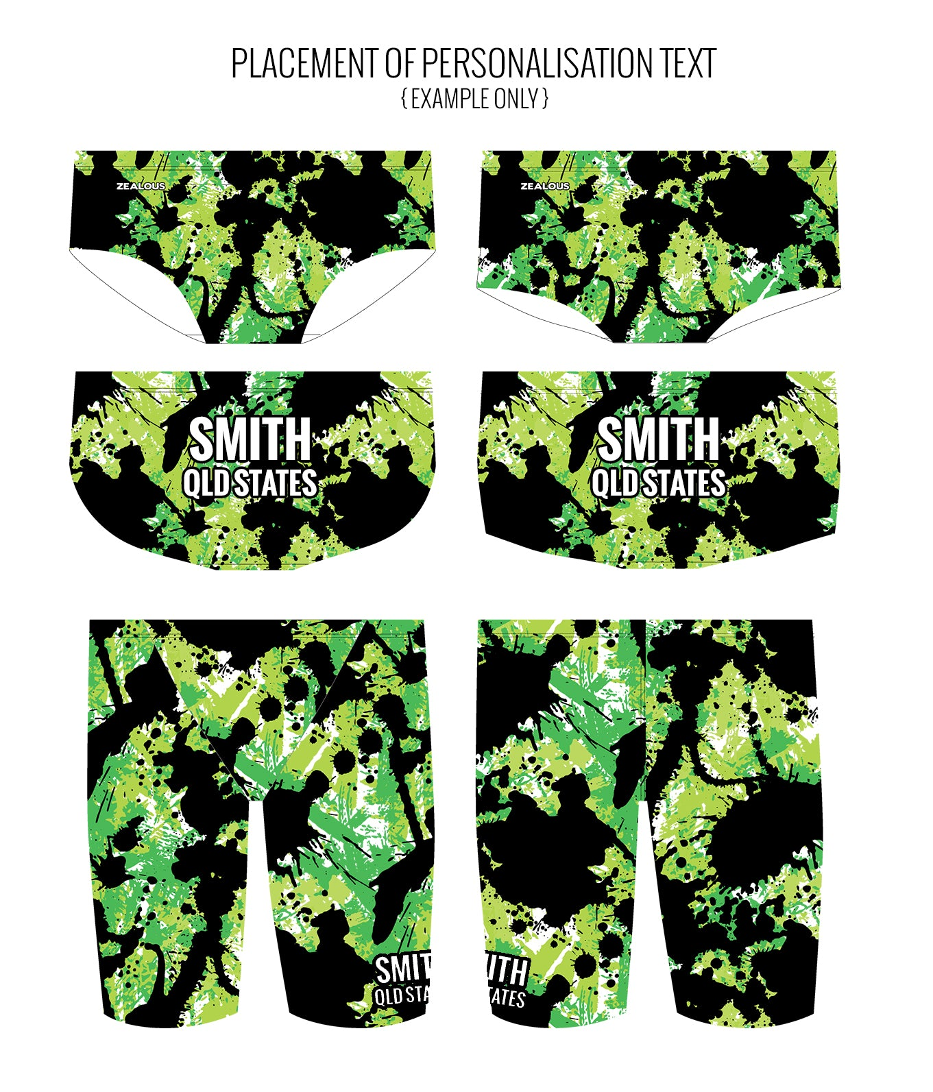 SPLAT ATTACK {GREEN} - MALE Personalised Swimwear - Shop Zealous Training Swimwear