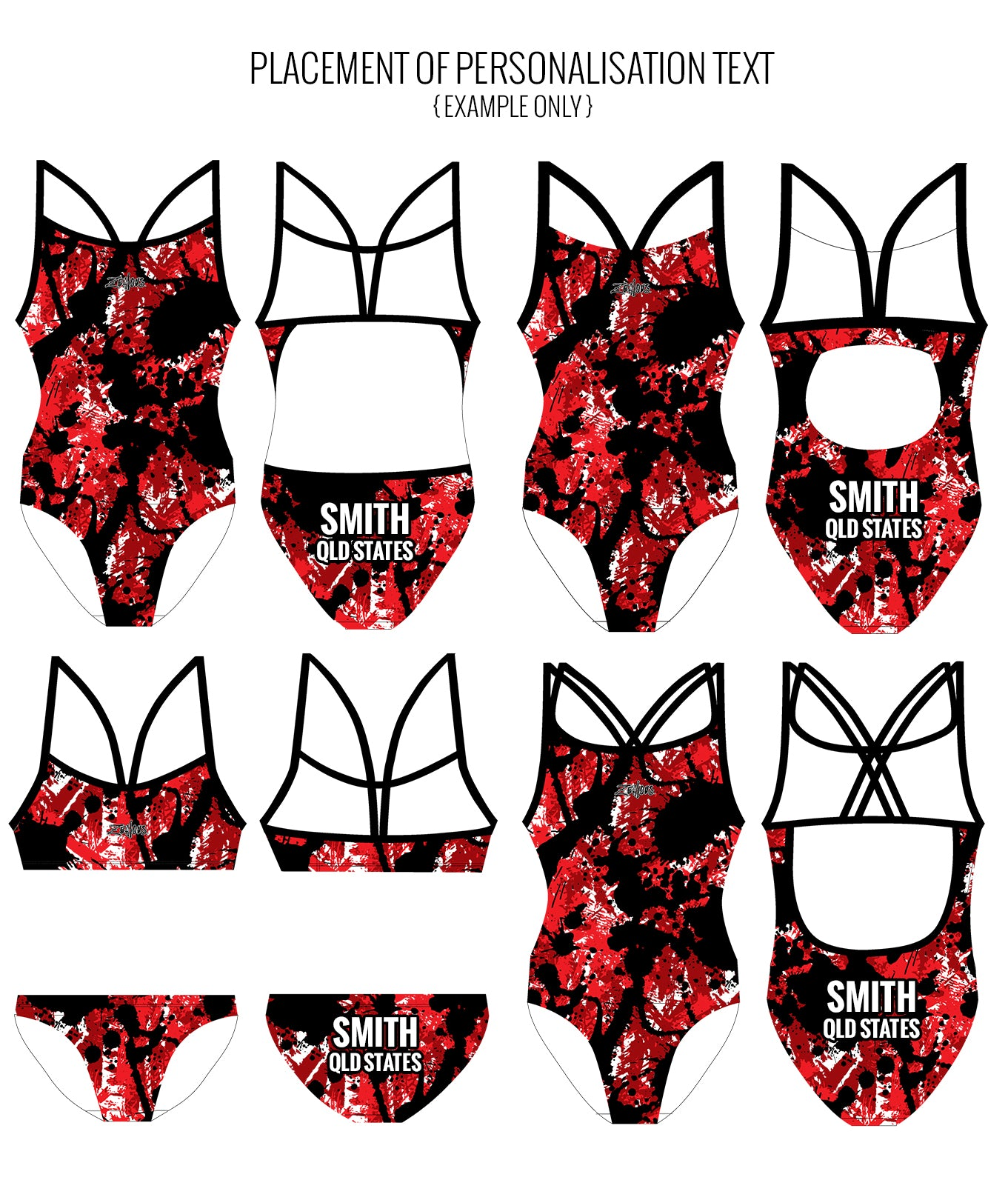 SPLAT ATTACK {RED} - FEMALE Personalised Swimwear - Shop Zealous Training Swimwear