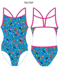 #WOW {BLUE} - FEMALE Personalised Swimwear - Shop Zealous Training Swimwear