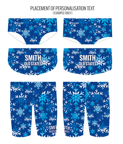 LET IT SNOW - MALE Personalised Swimwear - Shop Zealous Training Swimwear