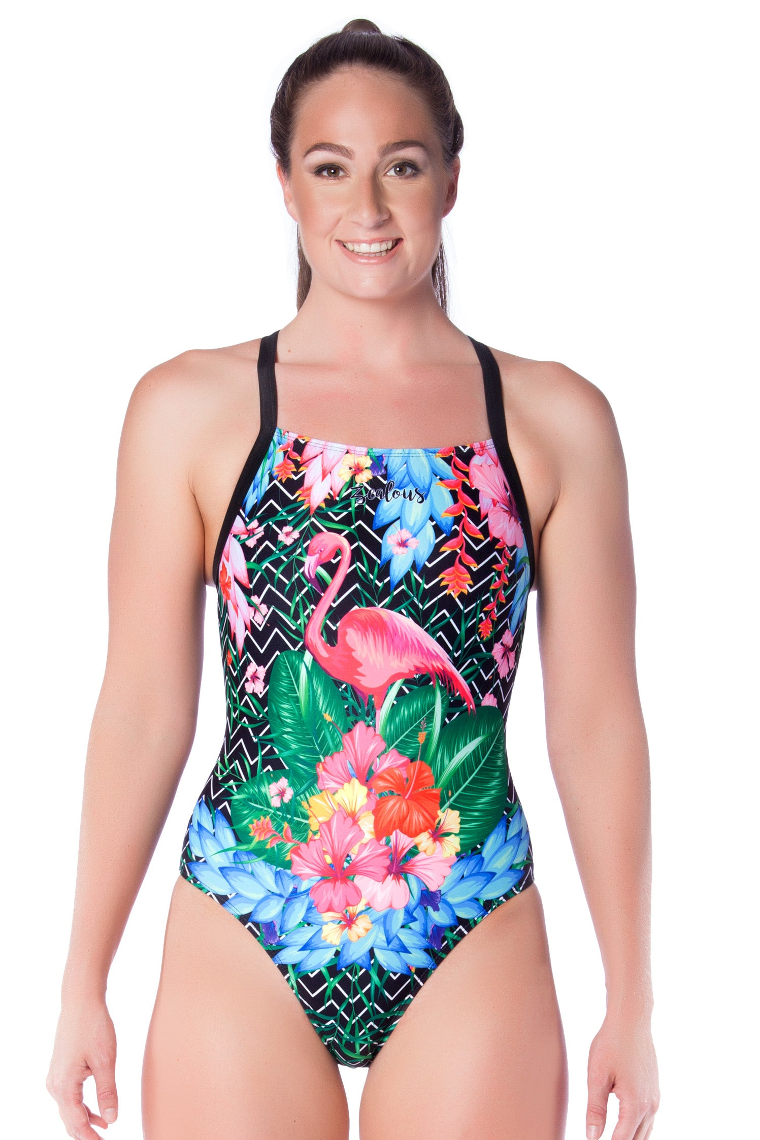 Flamingo Frenzy Ladies Racers - Shop Zealous Training Swimwear