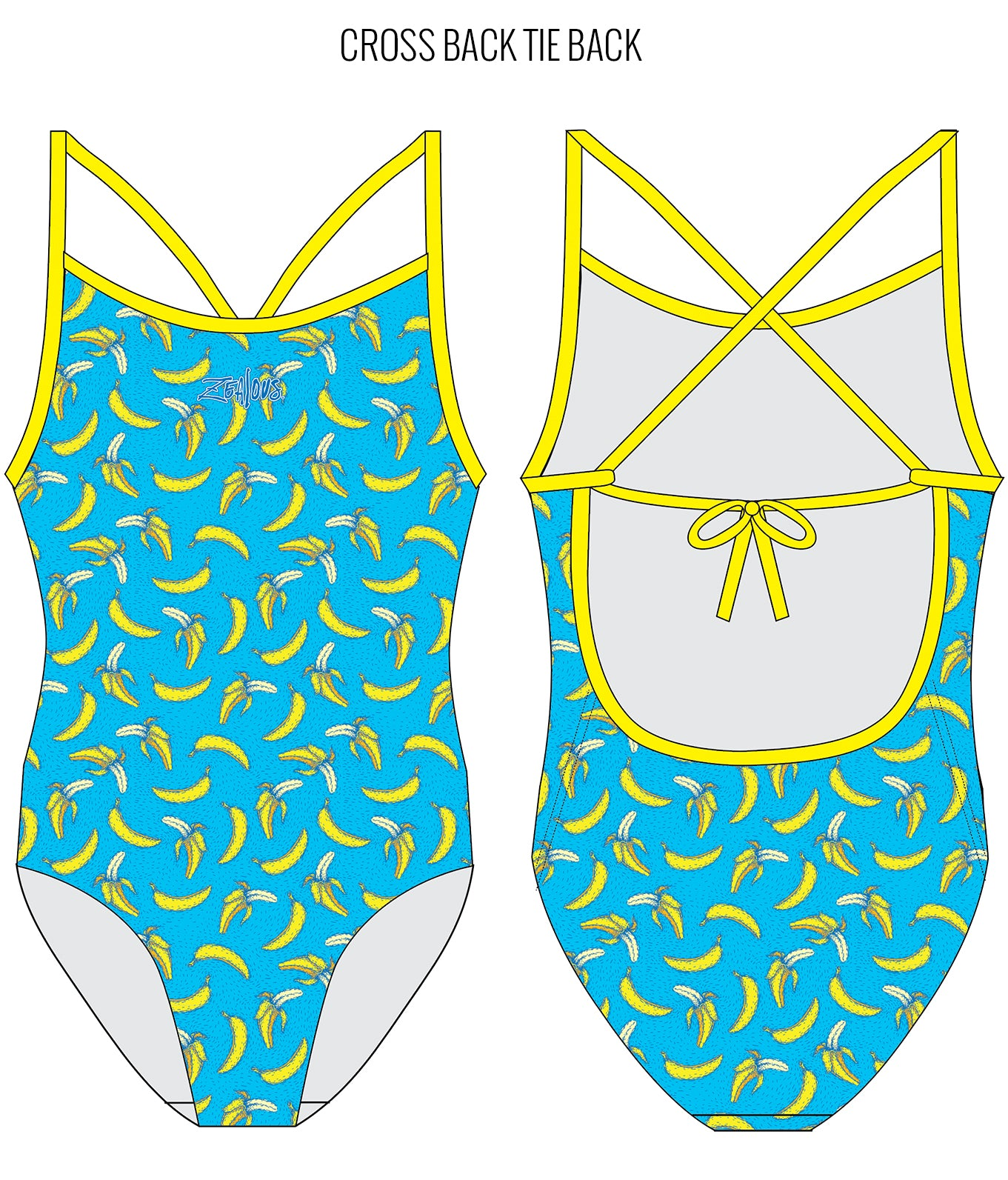 BANANARAMA {BLUE} - FEMALE Personalised Swimwear - Shop Zealous Training Swimwear