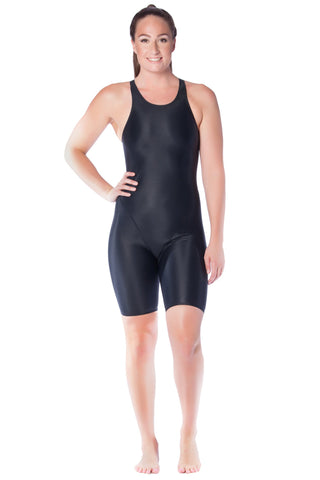 Pitch Black Racer Ladies Kneelengths - Shop Zealous Training Swimwear
