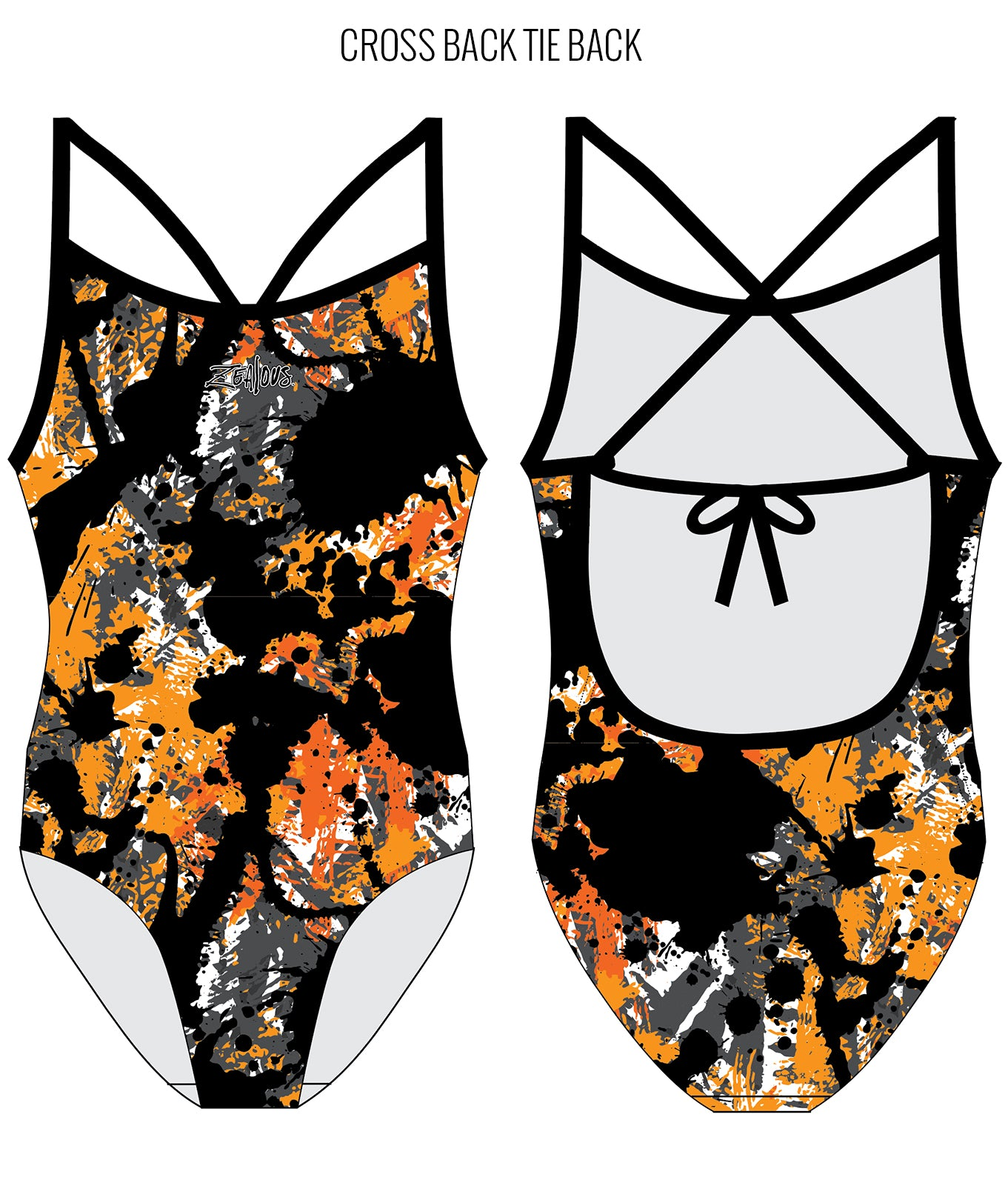 SPLAT ATTACK {ORANGE} - FEMALE Personalised Swimwear - Shop Zealous Training Swimwear