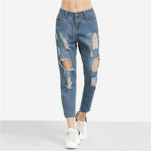 Blue Ripped Distressed Ankle Jeans