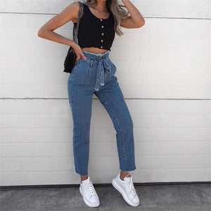 Drawstring Denim Trousers