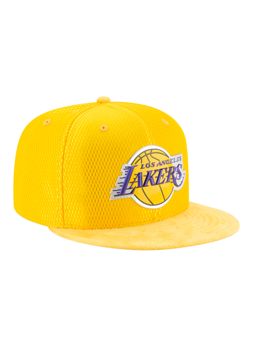 Los Angeles Lakers 59FIFTY On Court  Reverse Lux Mesh Faux Suede Fit Cap