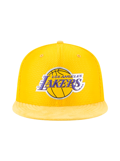 Los Angeles Lakers 59FIFTY On Court  Reverse Lux Mesh Faux Suede Fitted Cap