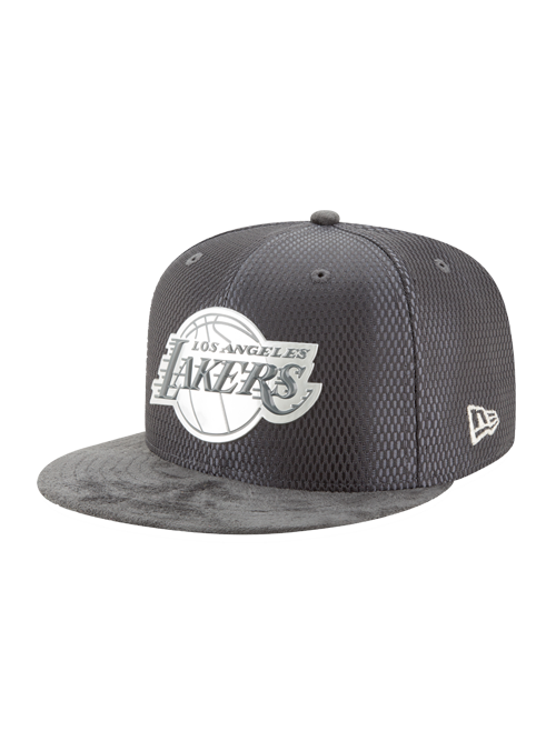 Los Angeles Lakers 59FIFTY On Court Lux Mesh Faux Suede Fitted Cap