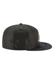 Los Angeles Lakers 59FIFTY On Court Black and Gold Lux Mesh Faux Suede Fit Cap