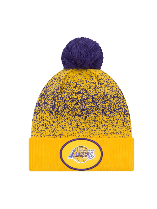 8bf720efe8c ... where to buy los angeles lakers youth on court reverse team pom cuff  knit hat fa4db