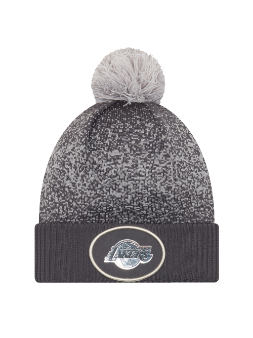 03d54144609 Los Angeles Lakers Youth On Court Graphite Pom Cuff Knit Hat – Lakers Store