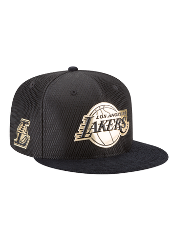 Los Angeles Lakers Youth 9FIFTY Black and Gold Lux Mesh Faux Suede Adjustable Cap