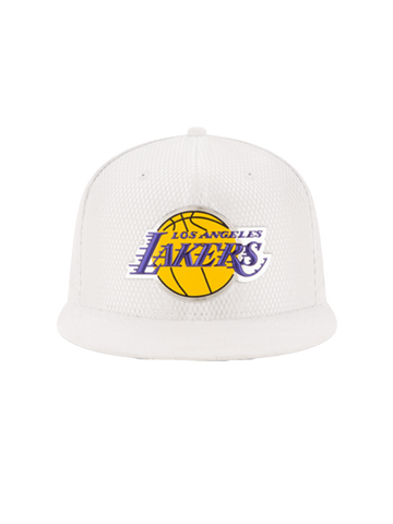 Los Angeles Lakers 2017 Draft 5950 On Court Mesh Suede Fitted Cap - White