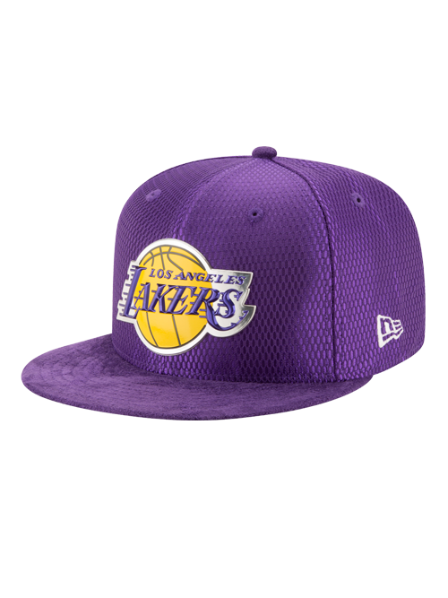 Los Angeles Lakers 2017 Draft 59FIFTY On Court Mesh Suede Fitted Cap - Purple