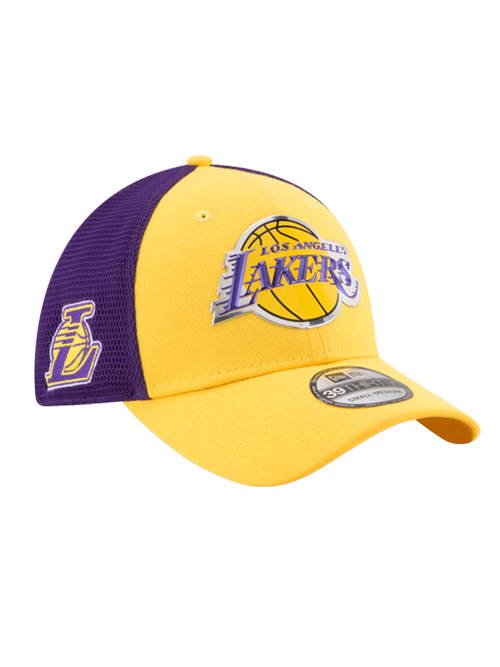 Los Angeles Lakers Youth 39THIRTY On Court Reverse Team Flex Fit Cap ... d7f10ca8029
