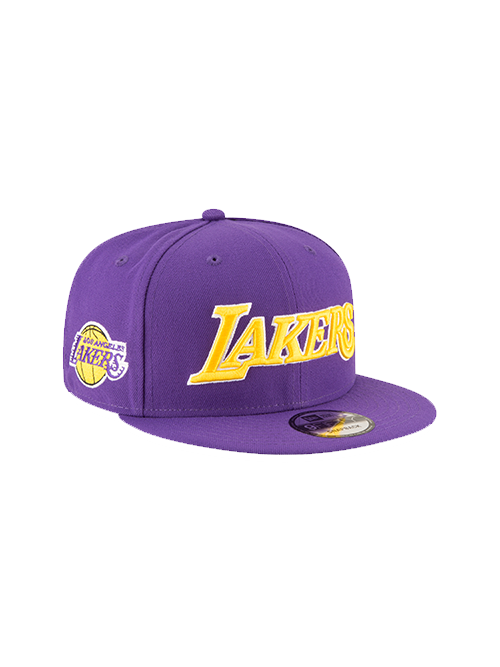 best service 7f1ae 6ae79 Los Angeles Lakers 9FIFTY On Court Statement Wordmark Snapback Cap