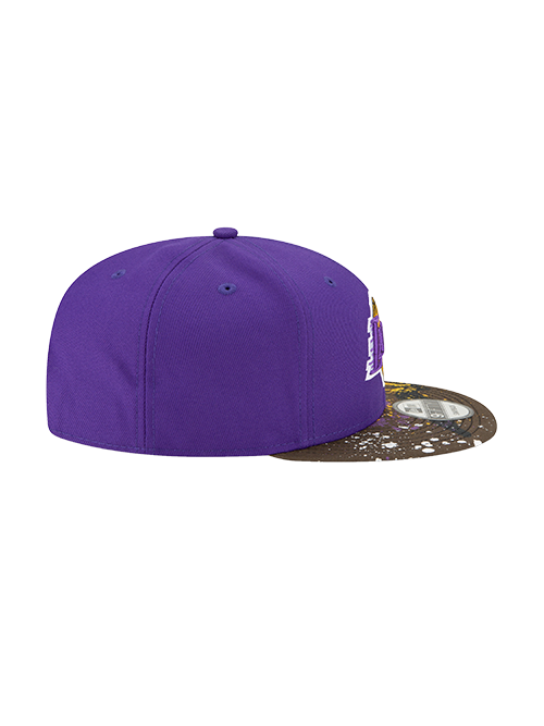 Los Angeles Lakers 9FIFTY Camo Splatter Snapback Cap - Purple