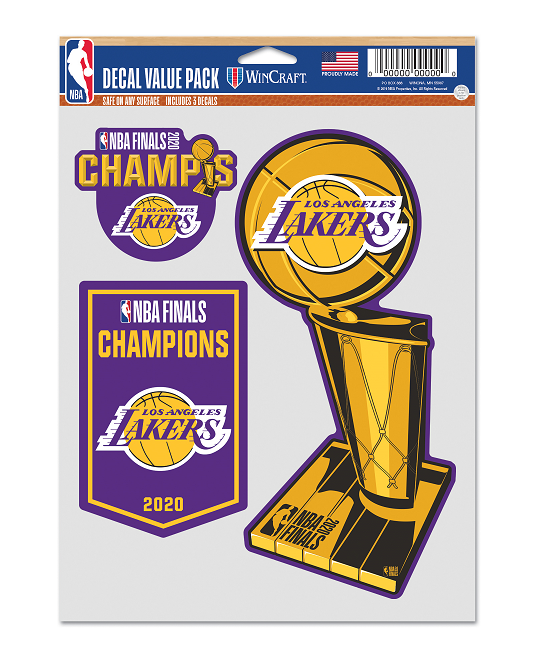 2020 NBA Champions 3-pack Los Angeles Lakers Fan Decal